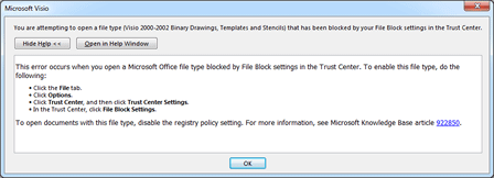 Notification about TransTools for Visio being blocked