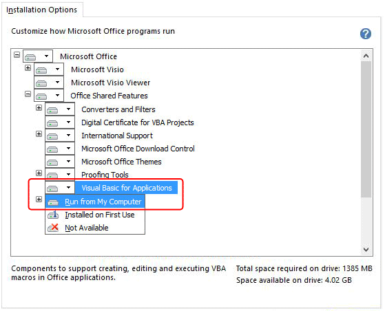 Screenshot: Enabling Visual Basic for Applications support during Visio installation