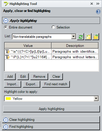 Highlighting Tool panel