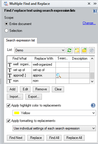 Multiple Find & Replace tool pane