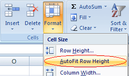 Screenshot: Autofit Row Height command (Excel 2007 or later)