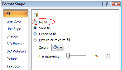 Screenshot: Choosing No Fill from Format Shape dialogue (Word 2007 or later)