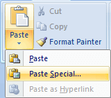 Screenshot: Paste Special menu (Word 2007 or later)