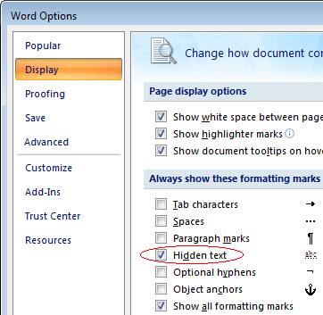 Screenshot: 'View hidden text' option (Word 2007 or later)