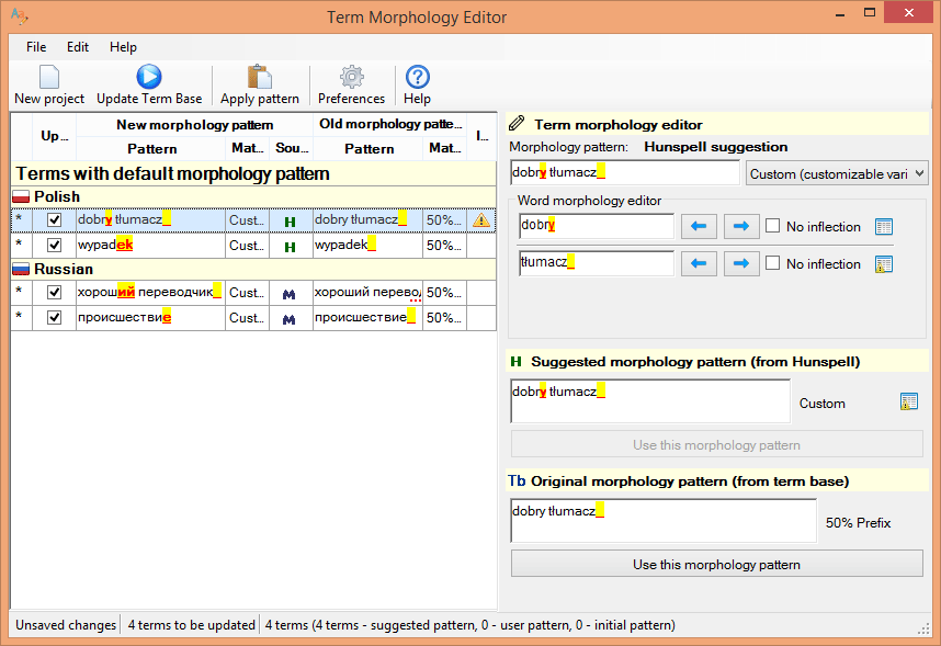 Term Morphology Editor window in action