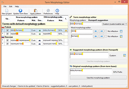 Term Morphology Editor screenshot