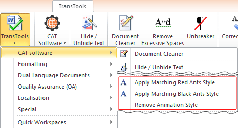 Apply & Remove Marching Ants Formatting commands in the menu