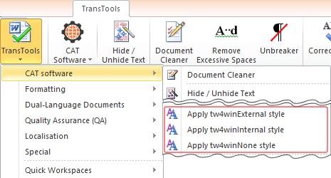 Apply Trados 2007 / Wordfast Classic Internal / External Styles commands in the menu
