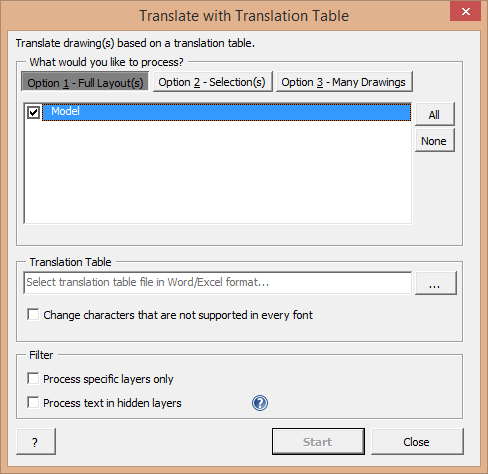 Screenshot: Translate using Translation Table dialogue