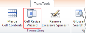 Cell Resize Wizard button on the ribbon