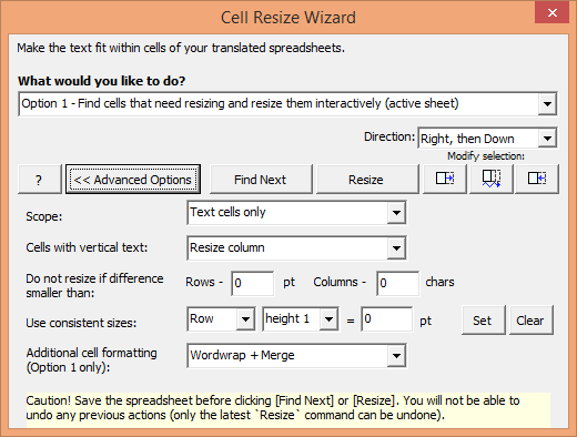 Cell Resize Wizard options