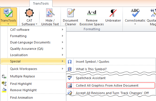 Collect All Graphics from Active Document menu item