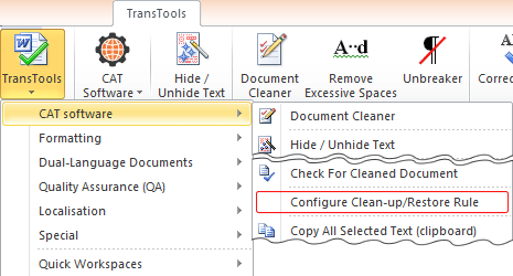 Configure Clean-up/Restore Rule menu item