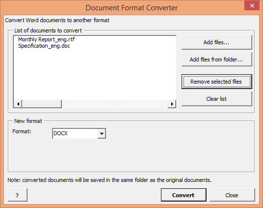 How to convert RTF and DOC files to DOCX format
