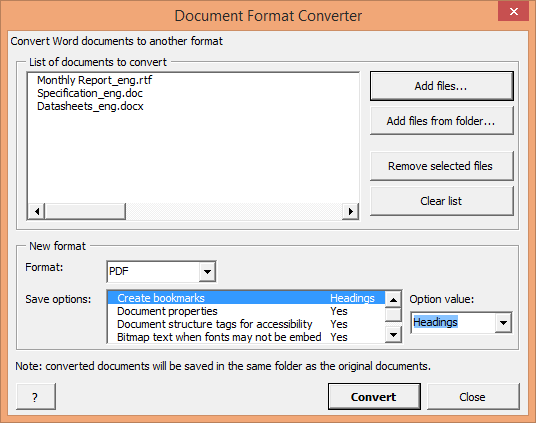 How to convert documents of different formats to PDF format