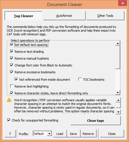 Typical options for cleaning tags with Tag Cleaner command