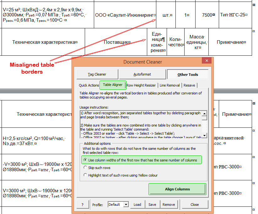 Fixing misaligned table borders with Table Aligner command