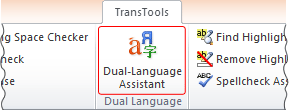 Dual-Language Assistant button on TransTools ribbon