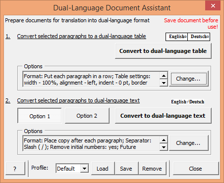Dual Language Document Assistant window