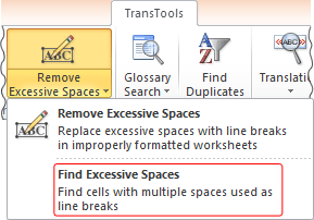 Find Excessive Spaces tool button on the ribbon