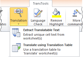 Excel translation tools on the ribbon