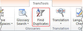 Find Duplicates tool button on the ribbon