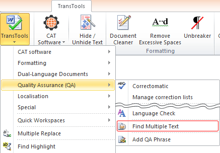 Find Multiple Text button on TransTools ribbon