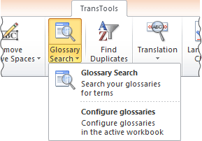Glossary Search tool button on the ribbon