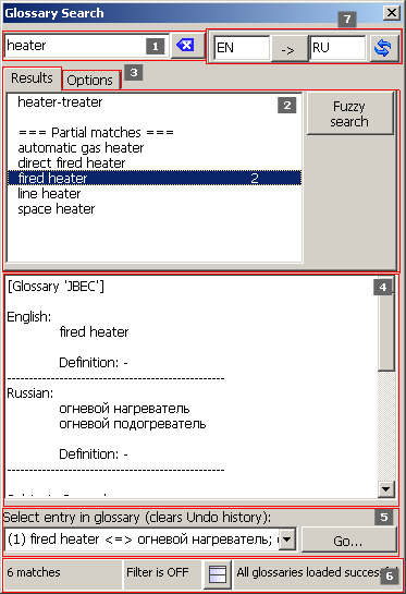 Screenshot: Glossary Search dialogue
