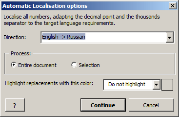 Automatic Localization tool screenshot