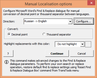 How to configure Find/Replace dialogue for manual number localization