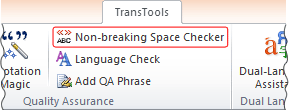 Non-breaking Space Checker button on TransTools ribbon