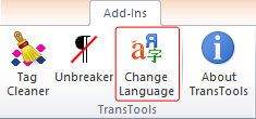 Change Language button on the ribbon