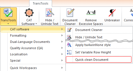 Quick-clean Document menu item