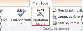 Quotation Magic button on TransTools ribbon