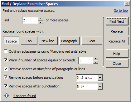 Screenshot: Find and Replace Excessive Spaces dialogue