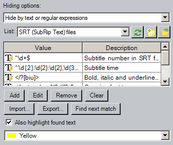 Hide by text or regular expression options