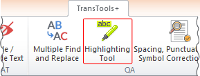 Highlighting Tool button on TransTools+ ribbon
