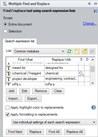 Multiple Find and Replace tool pane