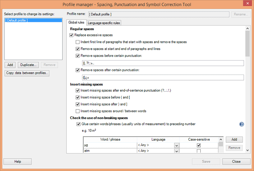 Modifying the options of a correction profile using the Profile Manager.