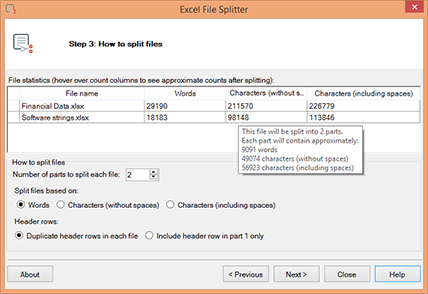 Excel File Splitter screenshot