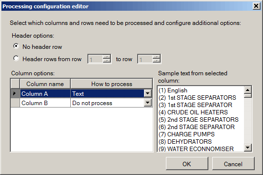 Processing configuration editor