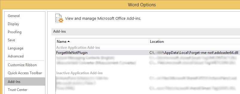 Screenshot: Add-Ins section of Word Options dialogue