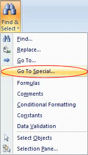 Find & Select menu (Excel 2007 and later)