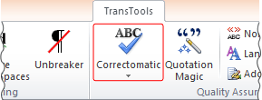 Correctomatic button on TransTools ribbon