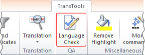 Language Check tool button on the ribbon
