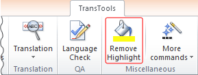 Remove Highlight tool button on the ribbon