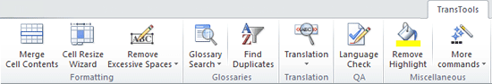 Screenshot: TransTools Add-in group under Excel 2007 or later