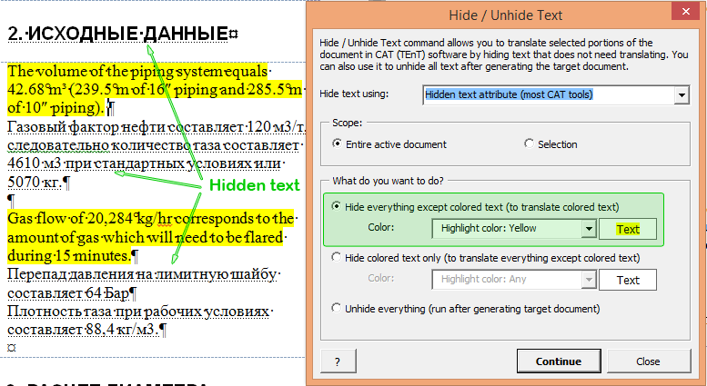 After hiding everything except yellow highlighted text