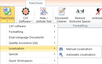 Automatic Localization and Manual Localization tools in the menu